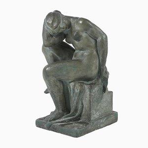 Grande Sculpture de Nu Féminin en Plâtre par Alexandre Calinescu, 1940s
