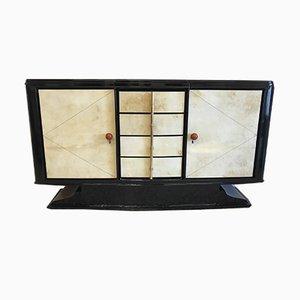 Schwarz lackiertes Art Deco Pergament Sideboard, 1930er