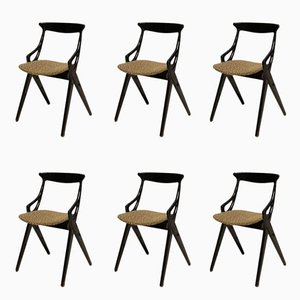 Black Dining Chairs by Arne Hovmand-Olsen for Mogens Kold, 1958, Set of 6
