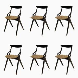 Schwarze Esszimmerstühle von Arne Hovmand-Olsen für Mogens Kold, 1958, 6er Set