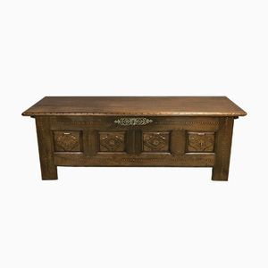 Antique French Chestnut Storage Bench