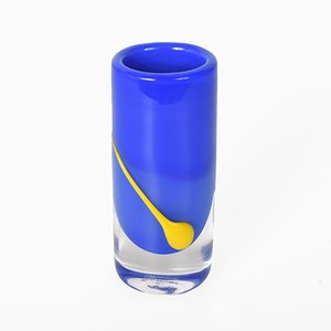 Swedish Blue & Yellow Crystal Glass Vase by Torstensson for Stombergshyttan, 1970s