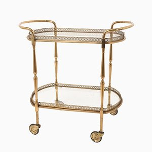 French Oval Bar Trolley with Service Tray from Maison Baguès, 1950s