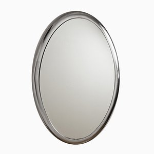 Italian Oval Wall Mirror with Metal Frame, 1970s