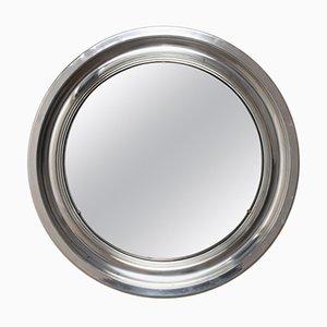 Italian Aluminum Round Mirror, 1960s