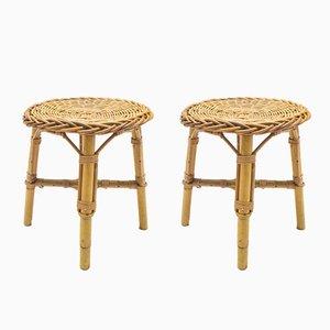 Mid-Century Bambus & Rattan Hocker, 1960er, 2er Set