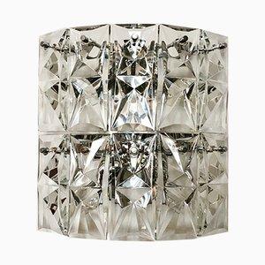 Große Kristallglas Wandlampe von Kinkeldey, 1960er