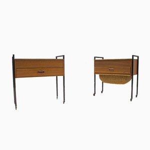 Scandinavian Sewing Boxes/Nightstands on Wheels, 1960s, Set of 2