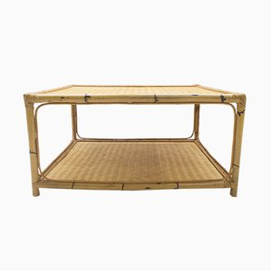 Tavolino da caffè grande in bambù e vimini, anni '60