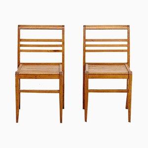 Eichenholz Stühle von René Gabriel, 1940er, 2er Set