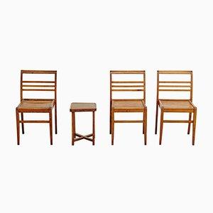 Juego de sillas con mesa auxiliar de Rene Gabriel, años 40