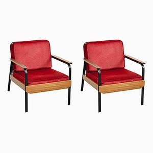 Lounge Chairs in Red, 1950s, Set of 2