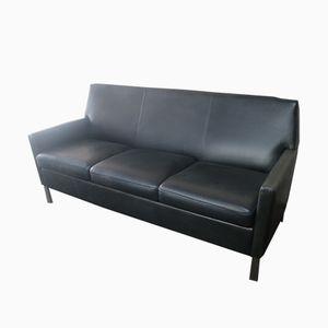 Dänisches Mid-Century Leder Sofa mit gebürsteten Stahlbeinen