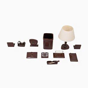 Französischer Schreibtisch Set aus vernähtem Leder, 1960er