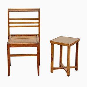 Juego de mesa y silla de Rene Gabriel, años 40