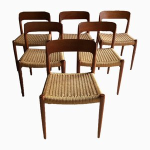 Model No. 75 Dining Chairs by N.O. Møller for JL Møllers Møbelfabrik, 1970s, Set of 6