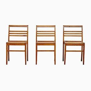 Französische Stühle von Rene Gabriel, 1940er, 3er Set