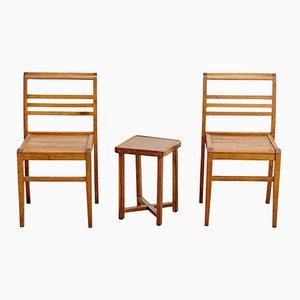 Table d'Appoint avec 2 Chaises par René Gabriel, 1940s