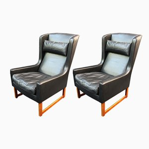 High Wingback Leather Chairs by Rudolf B. Glatzel for Kill International, 1960s, Set of 2