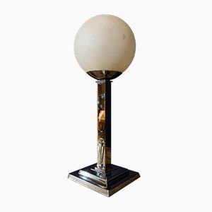 Lámpara Art Déco en forma de bola de vidrio opalino, años 70