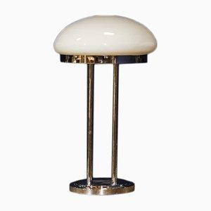Lámpara de escritorio de vidrio opalino, años 70
