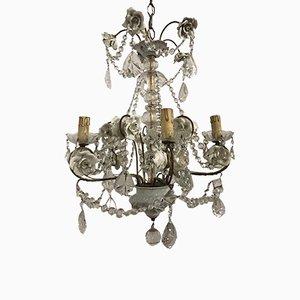 Lampadario vintage in porcellana e cristallo