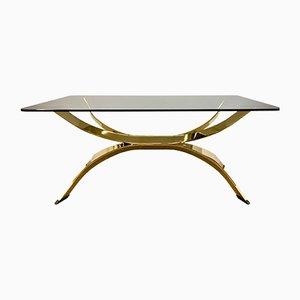 Table Basse Dorée avec Plateau en Verre Fumé, Italie, 1970s