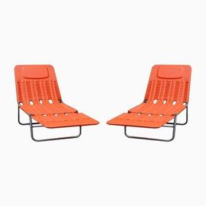 Deutsche orangenfarbene Sonnenliegen von Kurtz, 2er Set