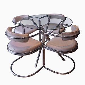 Vintage Esstisch mit 4 Chrom & Kunstleder Stühlen