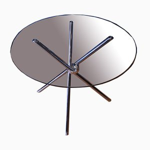 Bauhaus Chromed Steel & Glass Circular Dining Table with Chopstick Base, 1970s