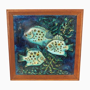 Large Ceramic Fish Wall Plate from Karlsruher Majolika, 1950s