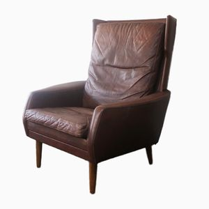 Brown Leather High-Back Lounge Chair, 1970s