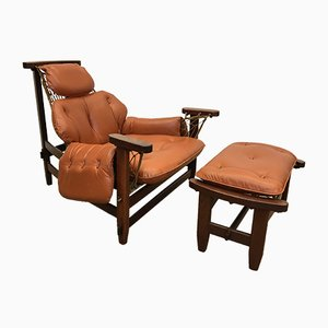 Gran Captain Leather & Mahogany Armchair with Ottoman by Jean Gillon for Italma Wood Art, 1960s