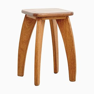 French Wooden Stool, 1950s
