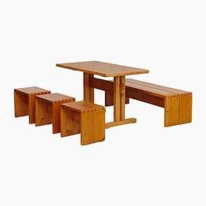 Pine Table, Bench & Stool Set by Charlotte Perriand, 1960s