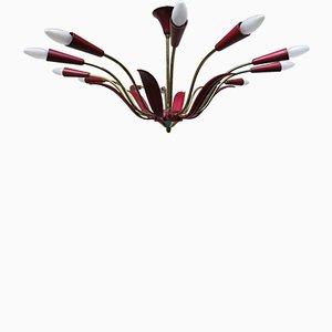 Florale Bakelit & Guss- Aluminum Deckenlampe, 1950er