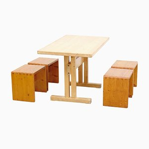 Table with 4 Stools by Charlotte Perriand, 1960s
