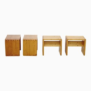 Pine Stools by Charlotte Perriand, 1960s, Set of 4
