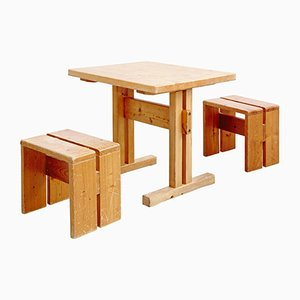 Table with Two Stools by Charlotte Perriand, 1960s
