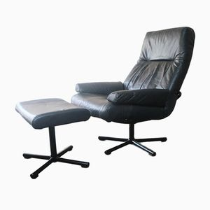 Black Leather Reclining Chair and Footstool Set, 1970s