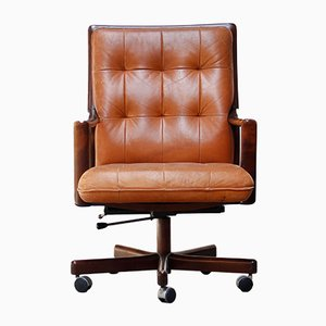 Office Chair in Cognac Leather from Lübke, 1960s
