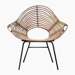 Vintage Rattan Lounge Chair by Dirk van Sliedregt for Rohe Noordwolde