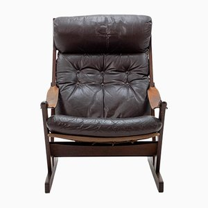 Norwegian Leather Lounge Chair, 1960s