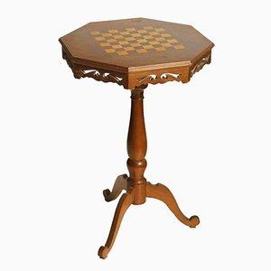 Petite Table Échiquier Mid-Century en Noyer