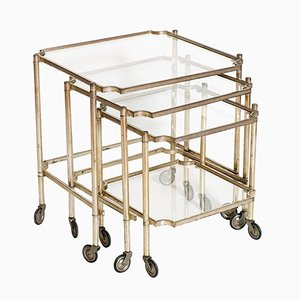Silvered Brass Rolling Nesting Tables, 1930s, Set of 3