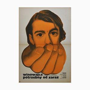 Affiche Vintage par Kiwerski pour CWF, Pologne, 1971