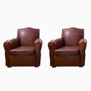 Vintage Leather Club Chairs, 1940s, Set of 2