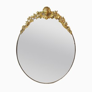 Antique Brass Oval Wall Mirror