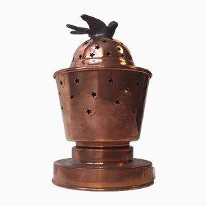 Lámpara aromática de mesa de cobre con perforaciones en forma de estrella, años 50