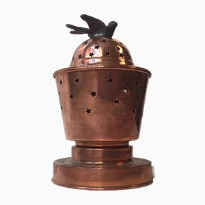 Vintage Copper Perfume Table Lamp with Star Perforations, 1950s